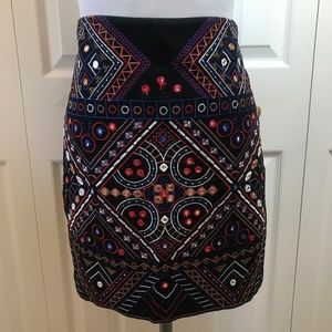 Philosophy Aztec $88.00 Mirror Embroidered Skirt S